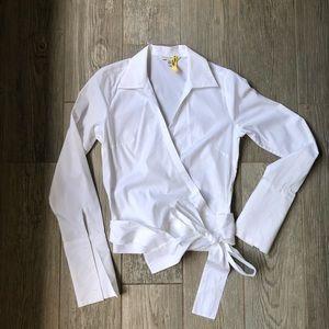 Banana Republic white wrap blouse